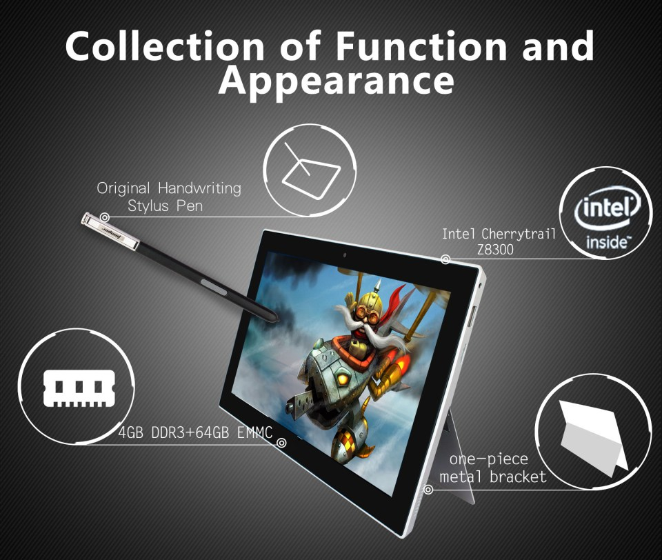 Jumper EZpad 5SE Tablet PC Windows 10 10.6 inch IPS Screen Intel Cherry Trail Z8300 Quad Core 1.44GHz 4GB RAM 64GB ROM Dual Cameras Bluetooth 4.0 with Keyboard