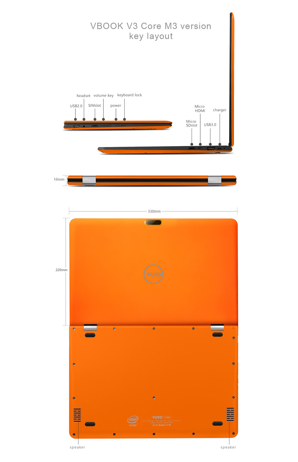 VOYO VBook V3 Flagship 13.3 inch Windows 10 Ultrabook FHD Screen Intel Core M3-6Y30 Dual Core 4GB RAM 128GB SSD ROM Bluetooth 4.0 Dual Cameras