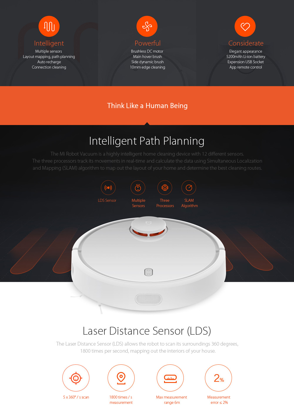 Original Xiaomi Smart Vacuum Cleaner Intelligent Sensors System Path Planning