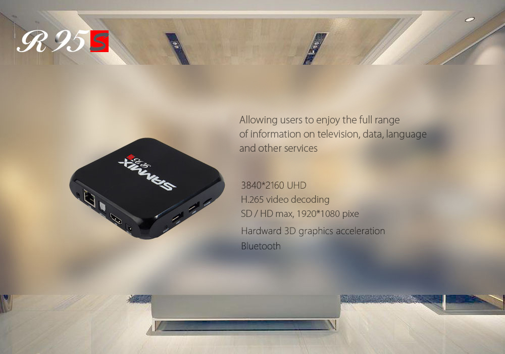 SAMMIX R95S TV Box Quad Core Amlogic S905X Android 6.0 2.4G WiFi Bluetooth 4.0 VP9-10 H.265 Décodage Multi-Media Player