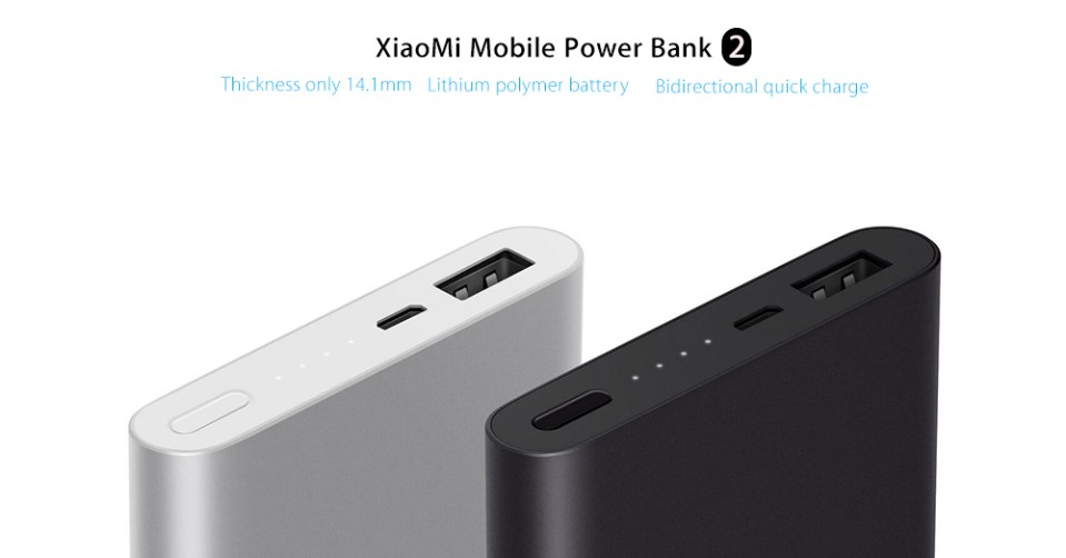 Original Xiaomi Bidirectional Quick Charge 10000mAh Portable Power Bank 2 Aluminium Alloy Housing Ultra-thin Body