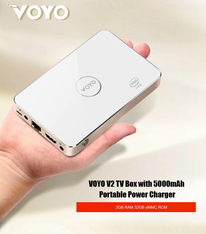 Voyo V2 TV Box avec 5000mAh Chargeur Portable Power 2 Go de RAM 32GB ROM Windows 10 4K Mini PC WiFi Bluetooth 4.0 HDMI Intel Baytrail T Z3735 Quad Core
