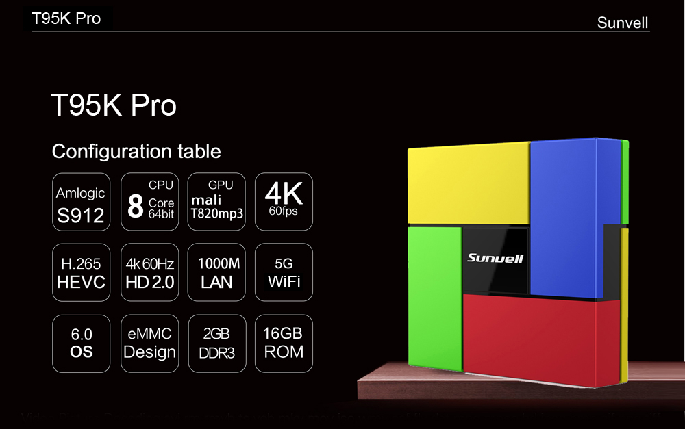 Sunvell T95K Pro Android 6.0 TV Box Amlogic S912 Octa-core CPU Supporting Bluetooth 4.0 Dual Band WiFi
