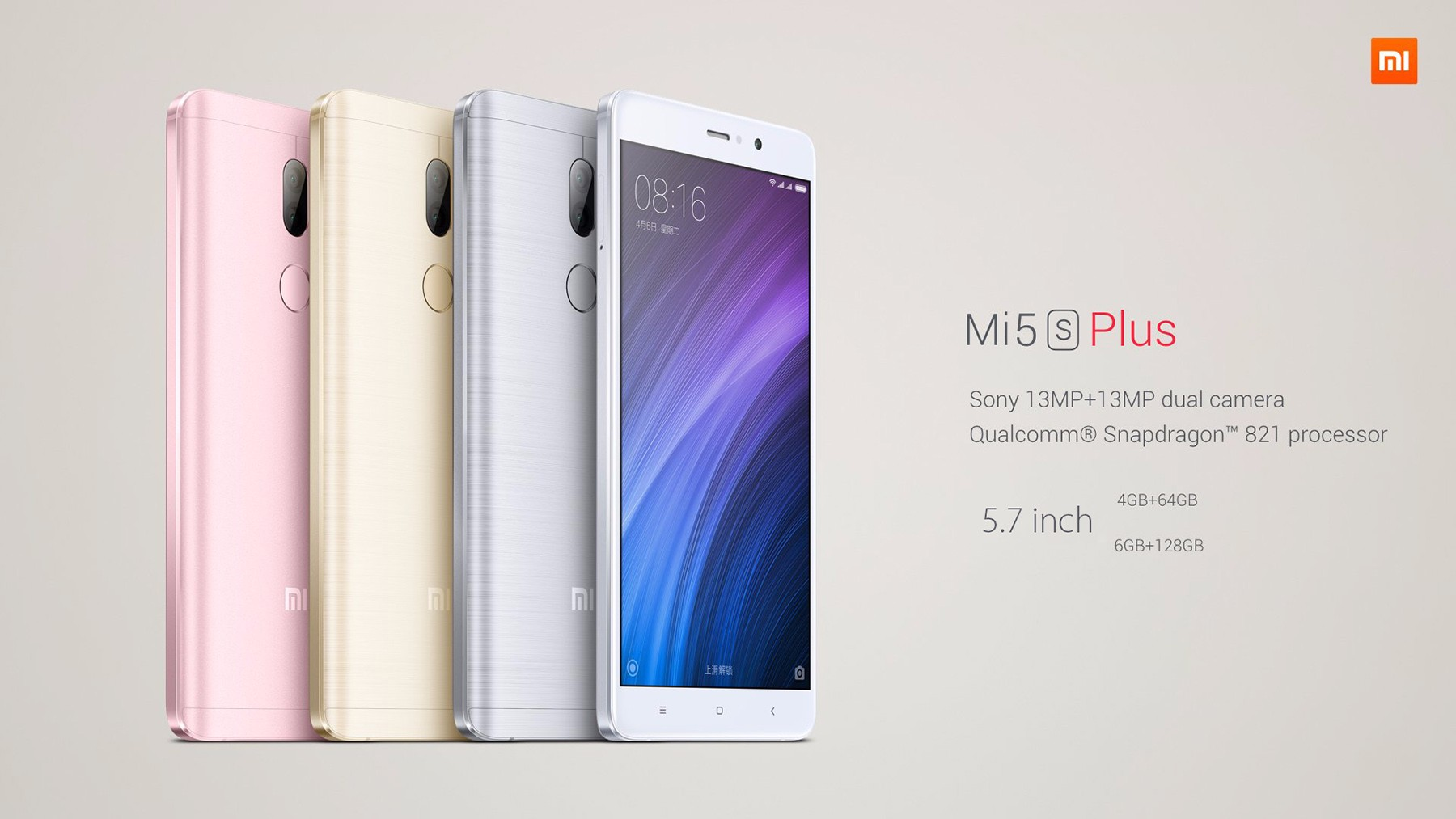 Xiaomi Mi5s Plus International Edition MIUI 8 5.7 inch 4G Phablet Snapdragon 821 Quad Core 2.35GHz 6GB RAM 128GB ROM Dual 13.0MP Rear Cameras Fingerprint Scanner NFC
