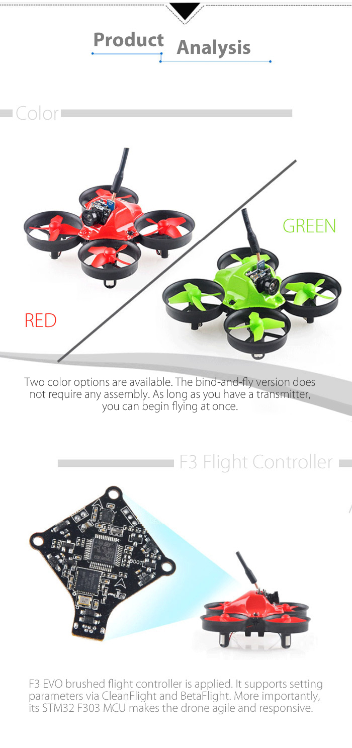Makerfire Micro Fpv 64mm Mini Rc Racing Drone Singlepin Mcu Gets Three Colors From Twocolor Led Lighting Content Colorful Board At The Rear Helps To Know Direction Ducted Fan Design Effectively Reduces Air Resistance Plug In Modular Namely