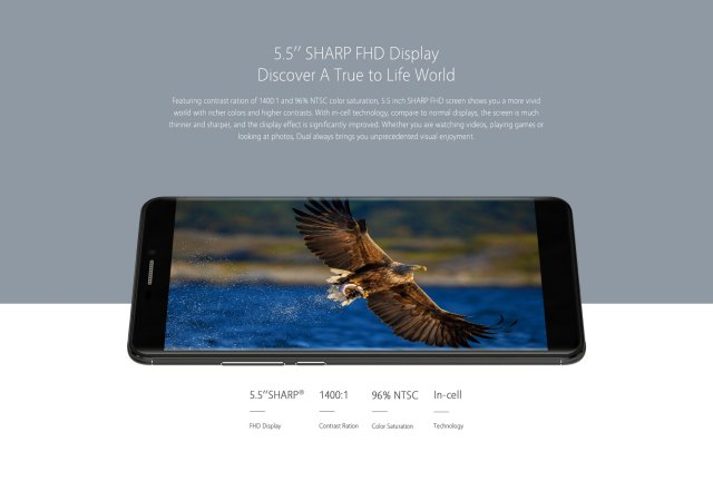 BLUBOO Dual Android 6.0 5.5 inch 4G Phablet MTK6737 Quad Core 1.5GHz 2GB RAM 16GB ROM 2.0MP + 13.0MP Dual Back Cameras
