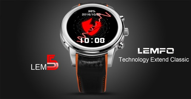 LEMFO LEM5 1.39 inch Android 5.1 3G Smartwatch Phone MTK6580 1.3GHz Quad Core 1GB RAM 8GB ROM Pedometer Heart Rate Monitoring