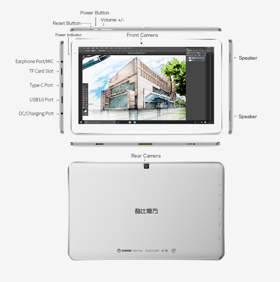 Cube Mix Plus 2 in 1 Tablet PC 10.6 inch Windows 10 IPS Capacitive Screen Intel Kaby Lake Core M3-7Y30 Dual Core 1.61GHz 4GB RAM 128GB SSD 2.0MP + 5.0MP Cameras Bluetooth 4.0 OTA OTG