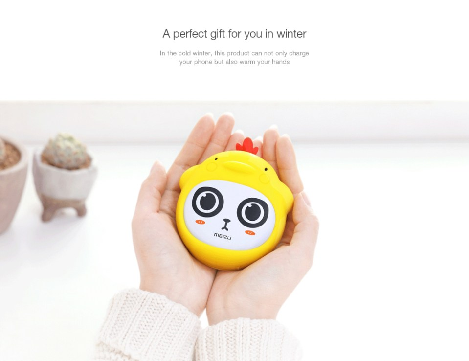 Original MEIZU Portable Power Bank 4500mAh Hand Warmer Cartoon Pattern