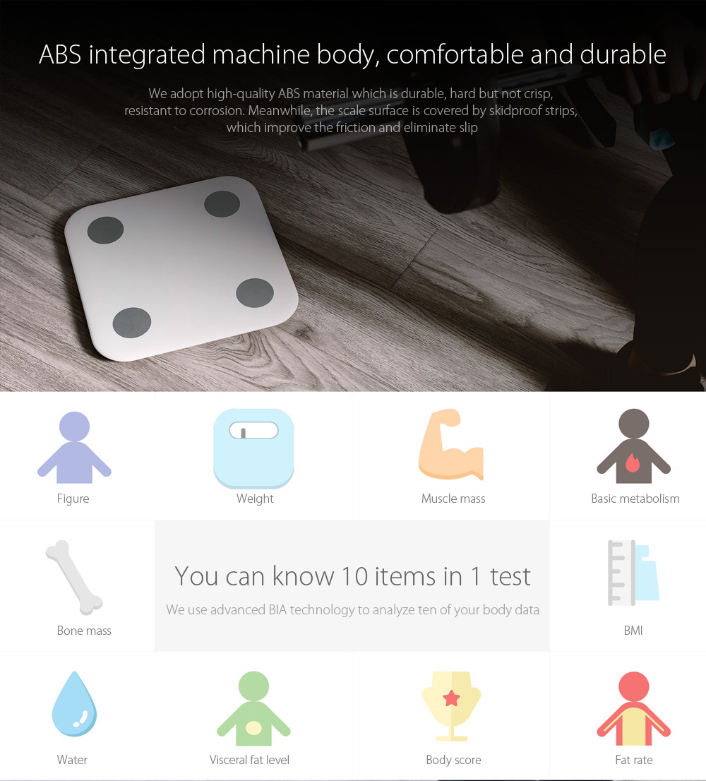 Xiaomi Bluetooth 4.0 Body Balance Santé intelligente Personal Digital outil de pesage