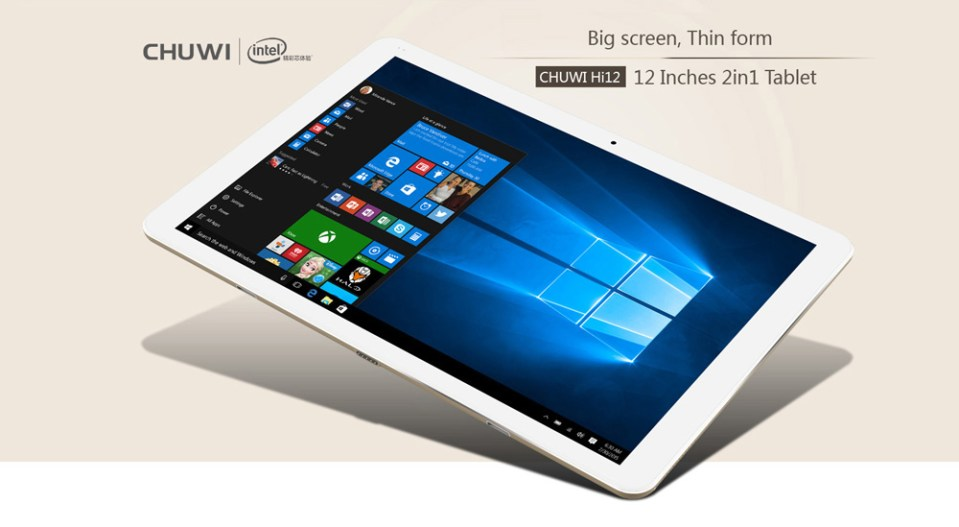 Chuwi Hi12 12.0 inch Tablet PC Windows 10 + Android 5.1 Intel Cherry Trail Z8350 64bit Quad Core 1.44GHz 2160 x 1440 IPS Screen 4GB RAM 64GB ROM Bluetooth 4.0