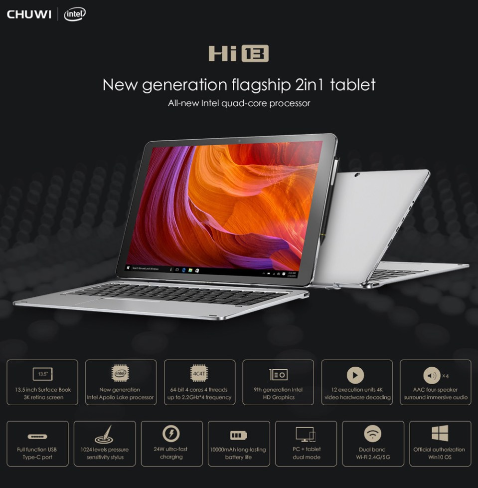 CHUWI Hi13 13.5 inch 2 in1 Tablet PC Windows 10 Intel Apollo Lake Celeron N3450 Quad Core 1.1GHz 4GB RAM 64GB ROM Dual WiFi Cameras OTG