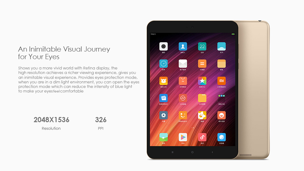 Xiaomi Mi Pad 3 Tablet PC 7.9 inch MIUI 8 MT8176 Hexa Core 2.1GHz 4GB RAM 64GB ROM Dual WiFi OTG Type-C