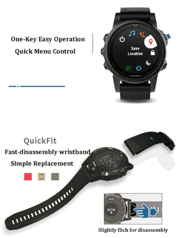 GARMIN Fenix 5S Smartwatch Heart Rate / Sleep Monitor Sedentary Reminder Remote Camera Bluetooth 4.0 Android iOS Compatible