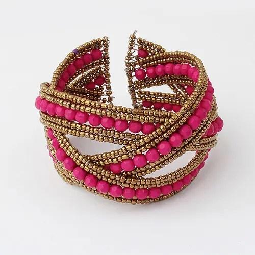 Bohemian Style Embellshed Measle Woven Openning Bracelet For Women