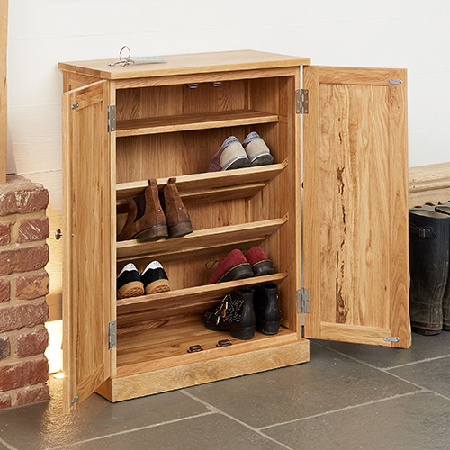 STORE Solid Oak Shoe Storage Cupboard Mobel