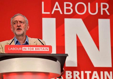 Jeremy Corbyn, em Manchester, fala a favor da permanência do Reino Unido na União Europeia