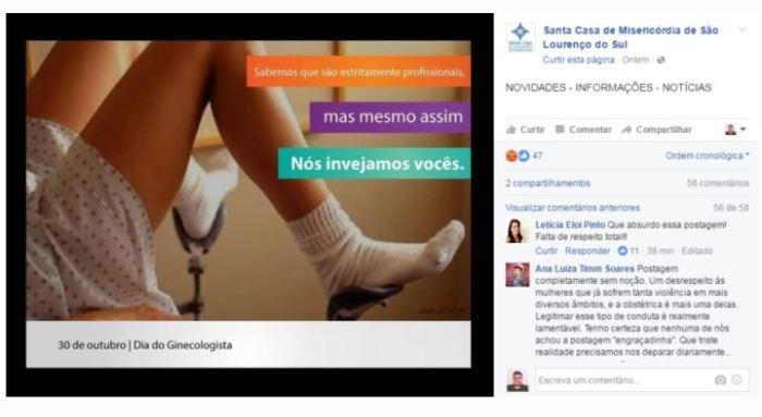 Postagem machista de hospital gaúcho sobre Dia do Ginecologista provoca revolta nas redes
