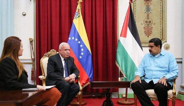 O ministro de Relações Exteriores palestino, Riad Al Malki, se reuniu com com o presidente venezuelano, Nicolás Maduro / Imprensa Presidencial/@PrensaPresidencial