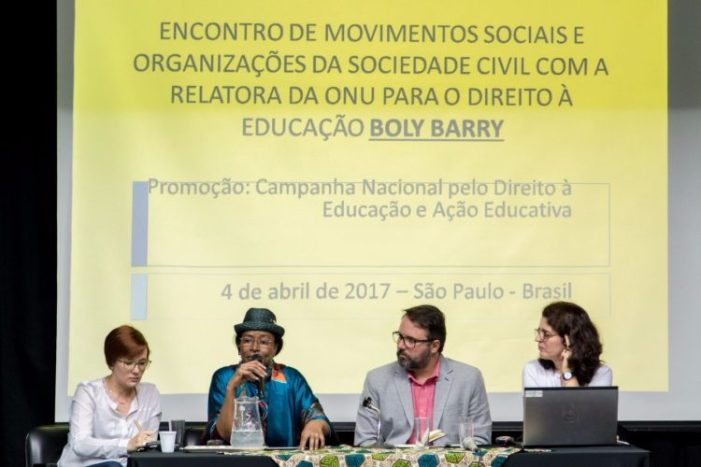 Movimentos sociais apresentam a situação da Educação brasileira para a relatora da ONU