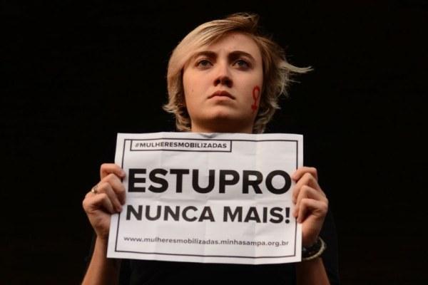 Mulheres protestam contra a cultura do estupro em São Paulo, em 2016.