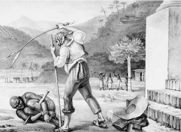 Na gravura de Debret, feitor pune escravo