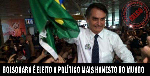 Seguidores divulgam falsa pesquisa sobre Bolsonaro ser o político mais honesto do mundo