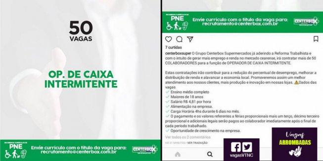 """""""Já aderindo à reforma trabalhista"""", mercado contrata intermitente por R$ 115,44 ao mês"""