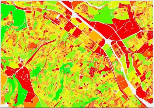 Tijuana, Población por manzana (Verde mayor, roja menor)