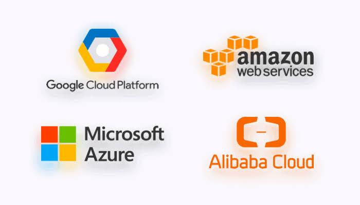 Cloud hosting technology, Google Cloud Platform, Amazon Web Services, Microsoft Azure, Alibaba Cloud.