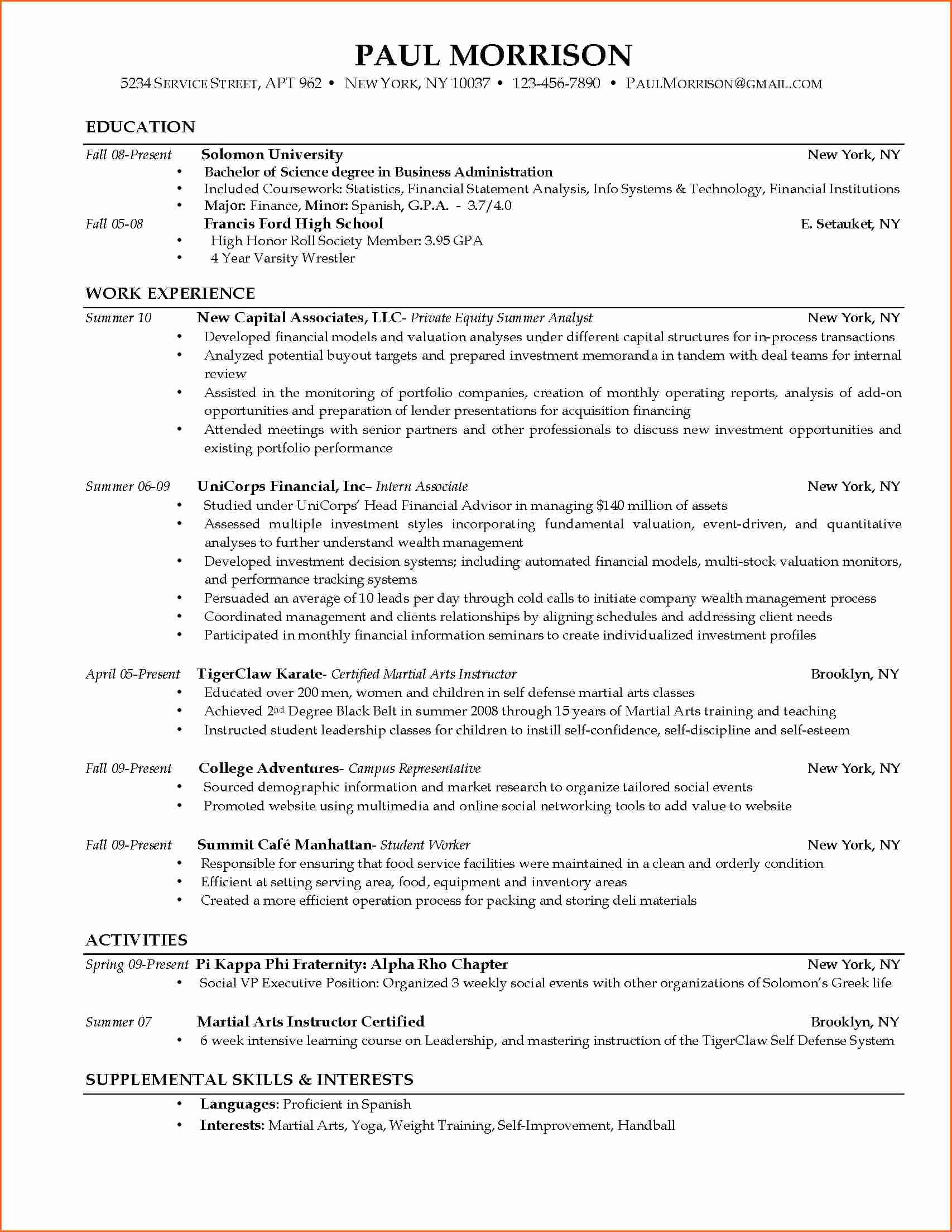 40 Resume Samples For College Student