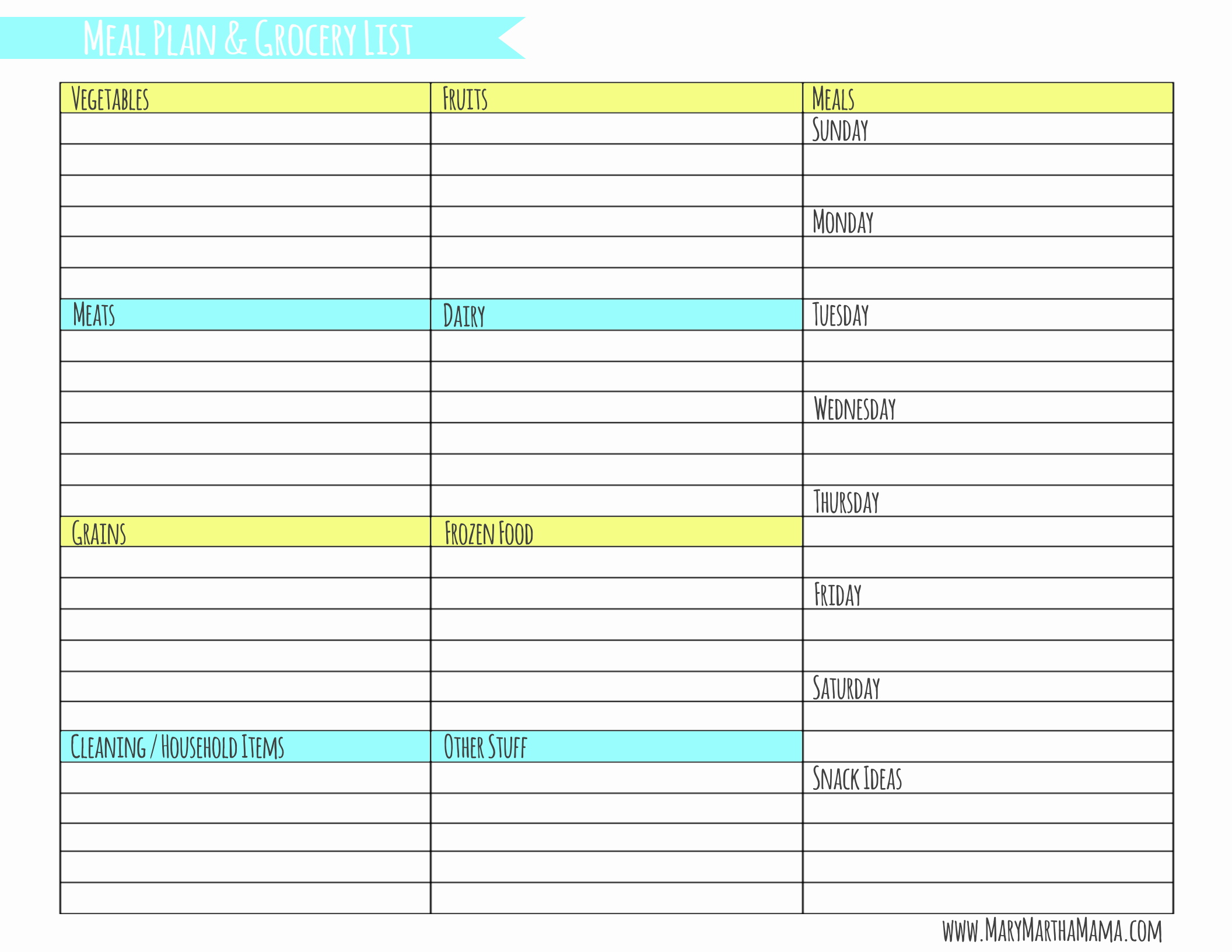 40 Weekly Meal Planning Template