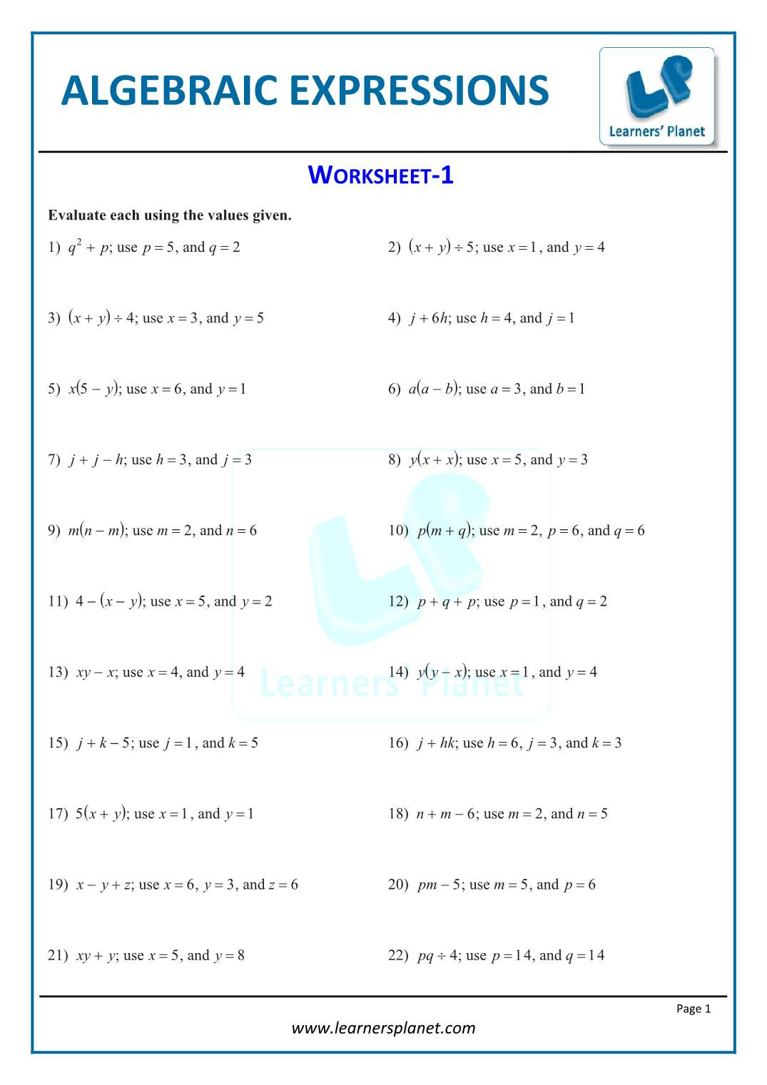 20 5th Grade Algebraic Expressions Worksheets