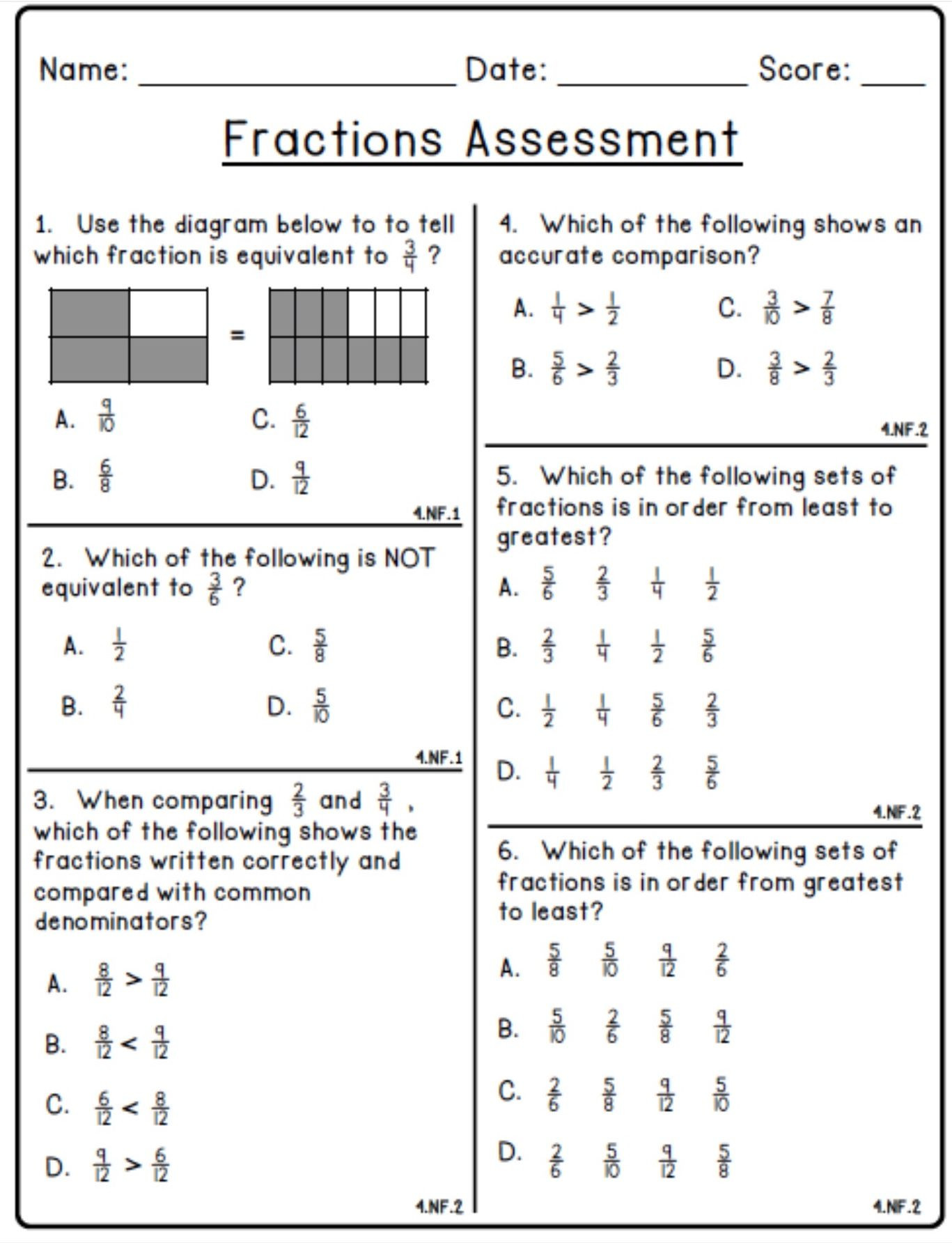 20 Decomposing Fractions Worksheets 4th Grade
