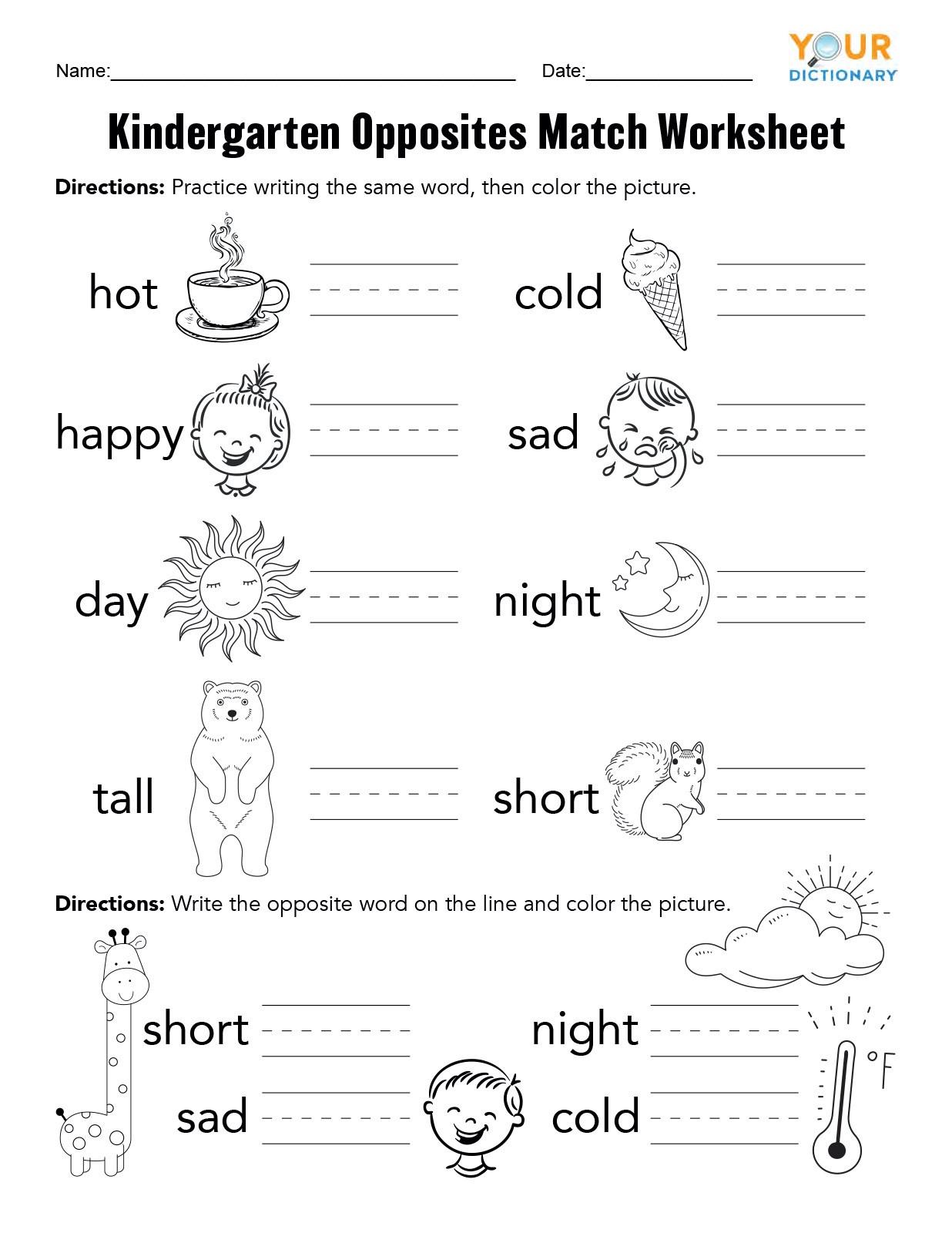20 Opposites Worksheet For Kindergarten