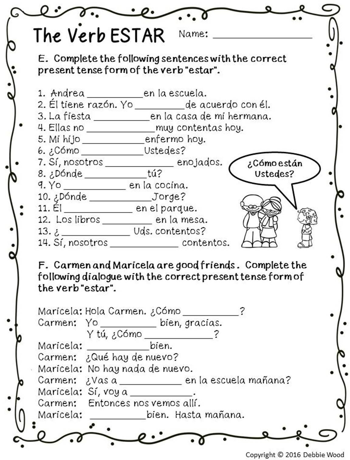 20 Spanish Reflexive Verbs Worksheet Printable