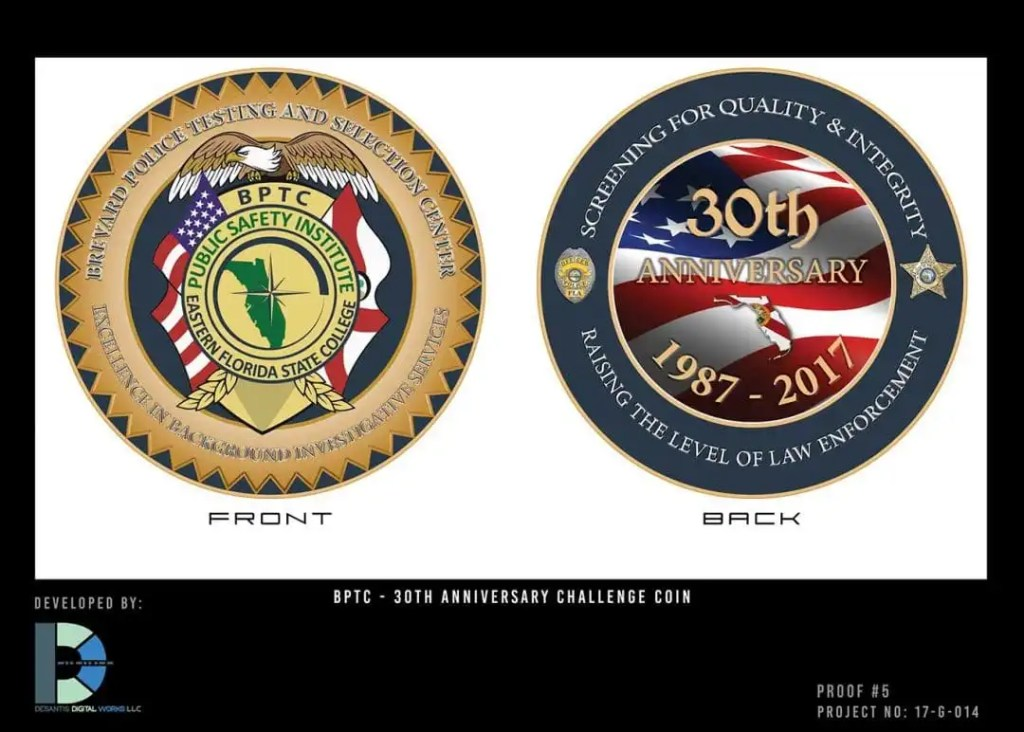 Challenge Coin, Eastern Florida State Colleage, BPTC, custom graphics, DeSantis Digital Works