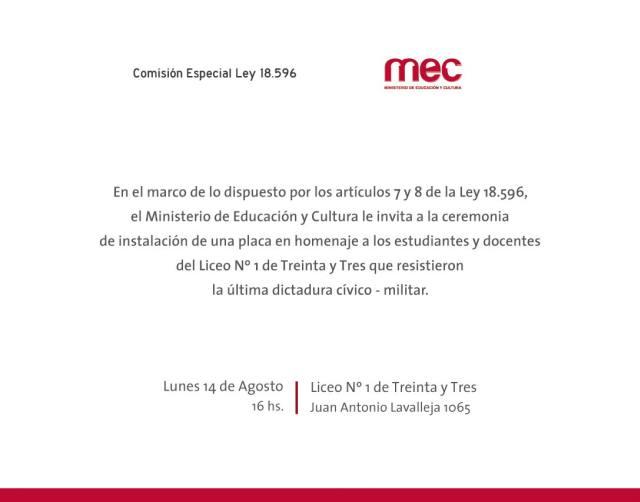 Placa homenaje en Liceo N° 1 de Treinta y Tres – Madres y Familiares ...