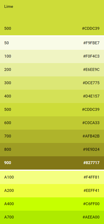 lime color colores material design