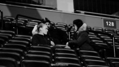 Valentina Shevchenko with Joanna Jedrzejczyk at the Fight Night Holm vs Shevchenko weigh ins on July 22, 2016 (Photo by Juan Cardenas)