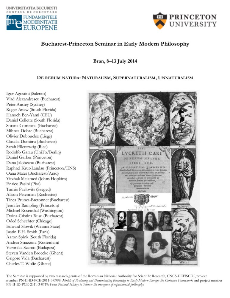 Bucharest-Princeton Seminar in Early Modern Philosophy 2014