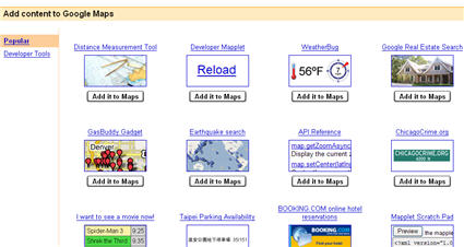 Google maps Mapplets
