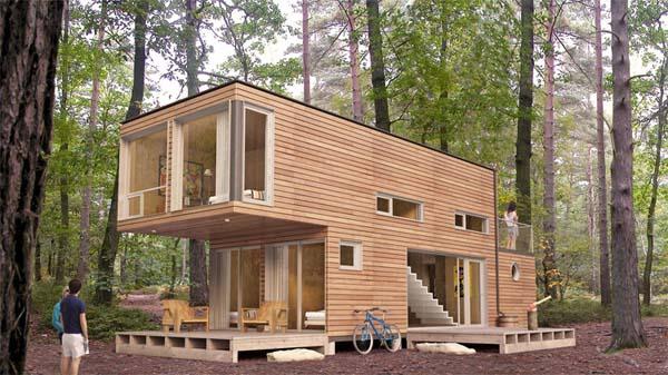 blokhut huis in bos