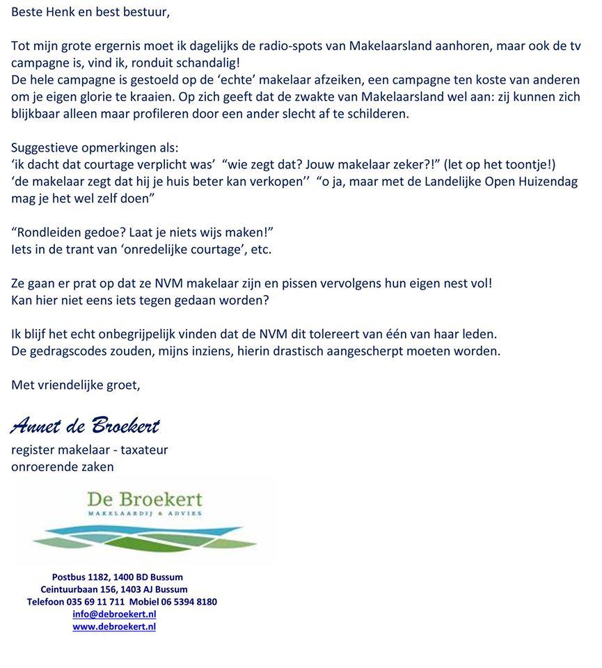 Open brief boze NVM makelaar over Makelaarsland reclame