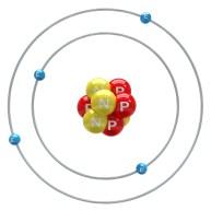 Beryllium atom on a white background