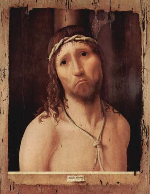 "Ecce Homo exposto na Galeria do Collegio Alberoni de Piacenza e assinado ""Antonellus Me pinxit"""