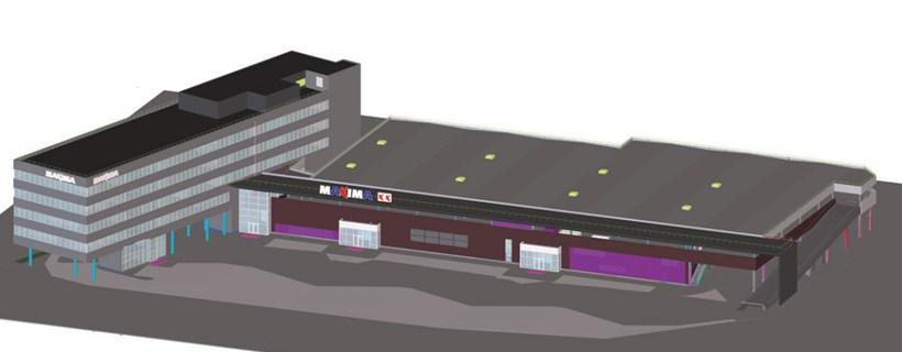 BIm Projektavimas. Descon. Administracinis ir prekybos pastatas Maxima. Bim modelis