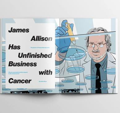 R Kikuo Johnson - Portrait of Dr James Allison for Mit Technology Review