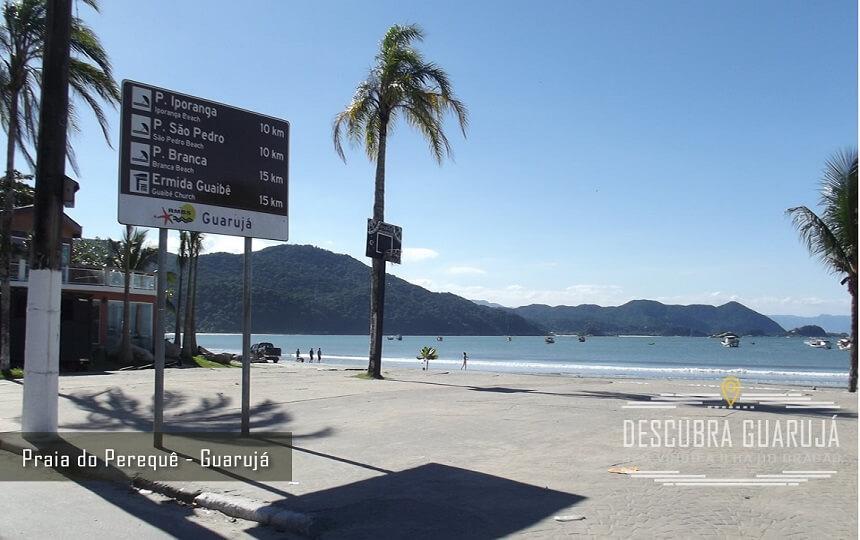 Praia do Perequê Guarujá - Placa Info Praia de Iporanga - Sao Pedro e Prainha Branca