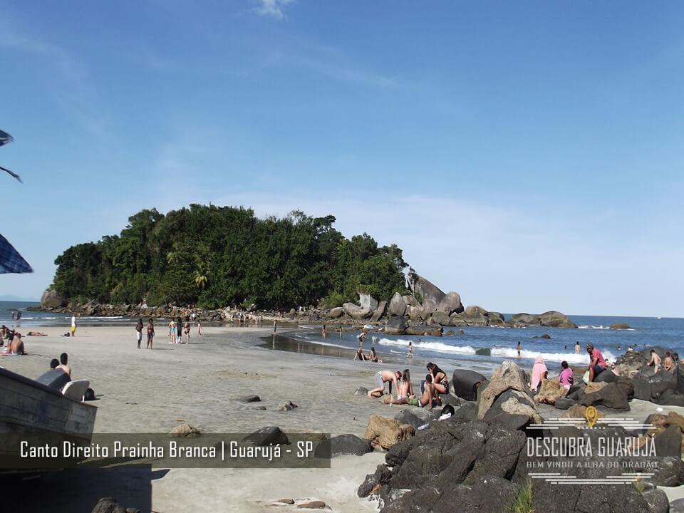 Pedras na Prainha Branca em Guarujá - Lado Direito da Praia